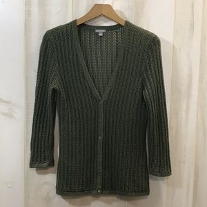 Ann Taylor Olive Green V Neck Cardigan Sweater S